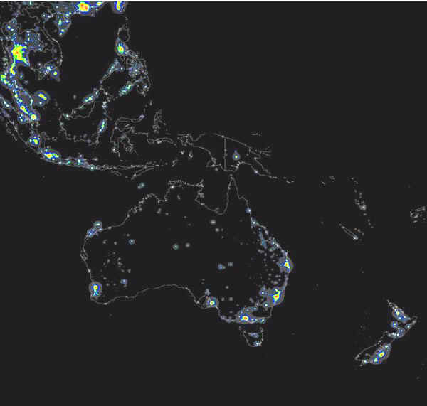 Some satellite photos of earth at night australia new zealand indonesia lights at night color contours 600x571 gumiabroncs Choice Image