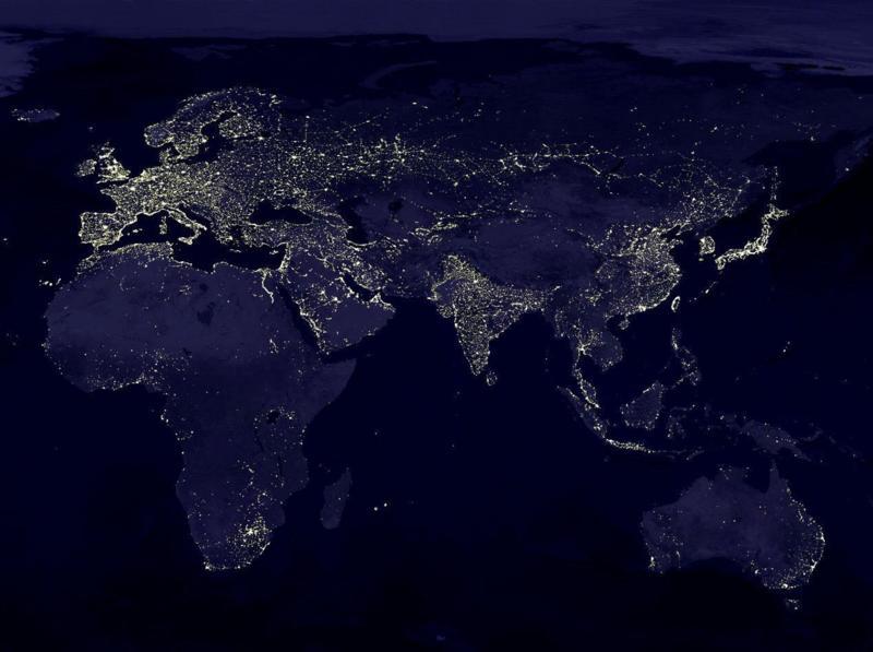 Eastern Hemisphere   Lights At Night (800x597) ...
